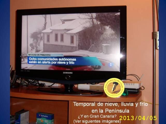 NIEVE temporal DE NIEVE - LLUVIA Y FRIO EN LA PENÍNSULA (TVE 2013-04-05)
