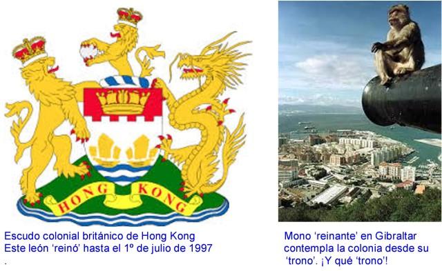 escudo de hong kong y mono de gibraltar