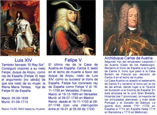 LUIS XIV - FELIPE V - ARCHIDUQUE CARLOS
