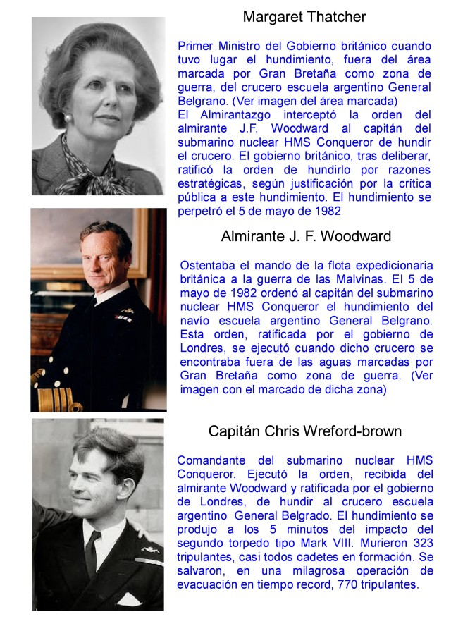 MARGARET THATCHER - ALMIRANTE WOODWARD - CAPITAN WREFORD-BROWN