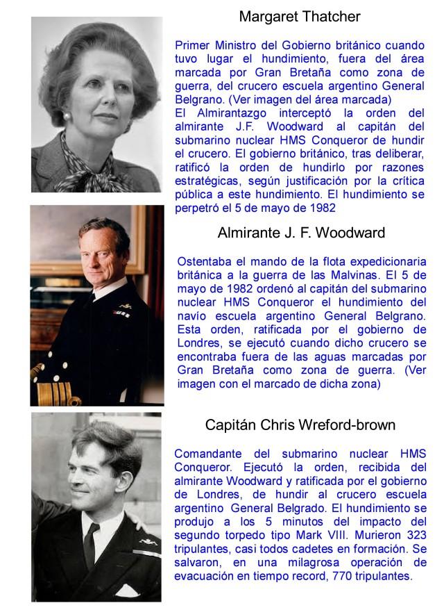 MARGARET THATCHER - ALMIRANTE WOODWARD - CAPITAN WREFORD-BROWN