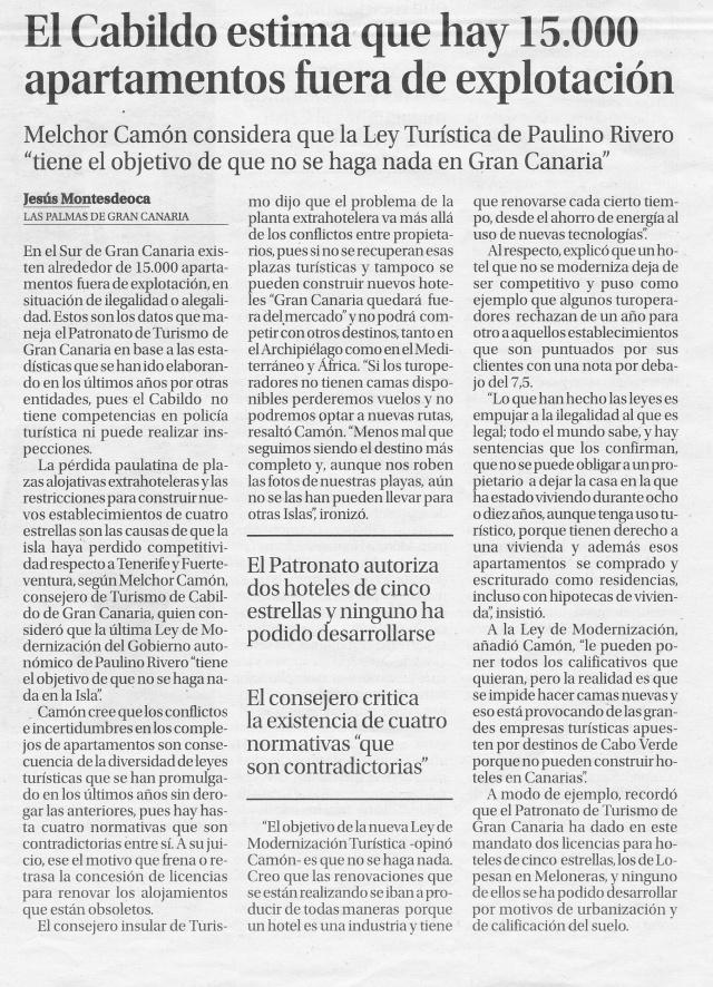 Declaracion 2014-09-14 de Melchor Camón a La Provincia sobre apartamentos ilegales