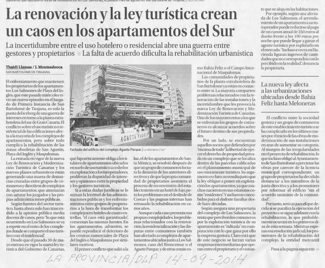 La renovación y la ley tyrística 2014-09-14 crean un caos en los apartamentos del Sur (La Provincia-DLP)